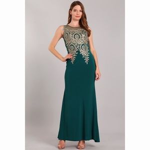 Sexy Sleeveless Forest Green Gold Lace Dress